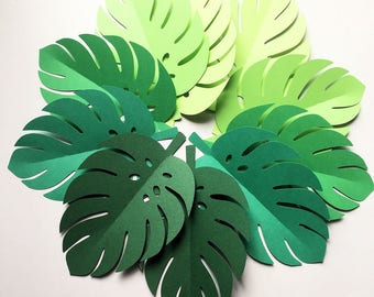 Tropical Leaf shapes. Green ombre safari or jungle leaves, monstera leaf. Baby shower. First birthday party, photo prop, party backdrop.