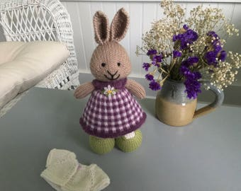 Hand knit, knitted bunnies knitted rabbit, knit bunny, knit rabbit, small, stuffed, small knit stuffed animal, knitted rabbit, gingham