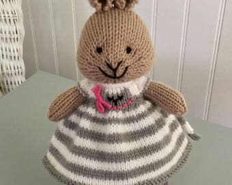 Hand knit, knitted bunnies knitted rabbit, knit bunny, knit rabbit, small, stuffed, small knit stuffed animal, knitted rabbit, cat dress