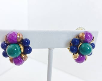 Teal Purple Gold Blue Earrings