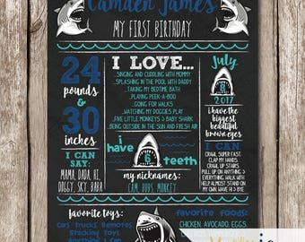 Shark First Birthday Stats Poster - Shark First Birthday Chalkboard Stats Sign - Chalkboard Shark Milestone Sign - Shark Birthday Party