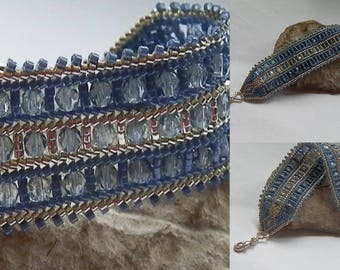 Bohemian blue and silver beads and seed beads woven bracelet