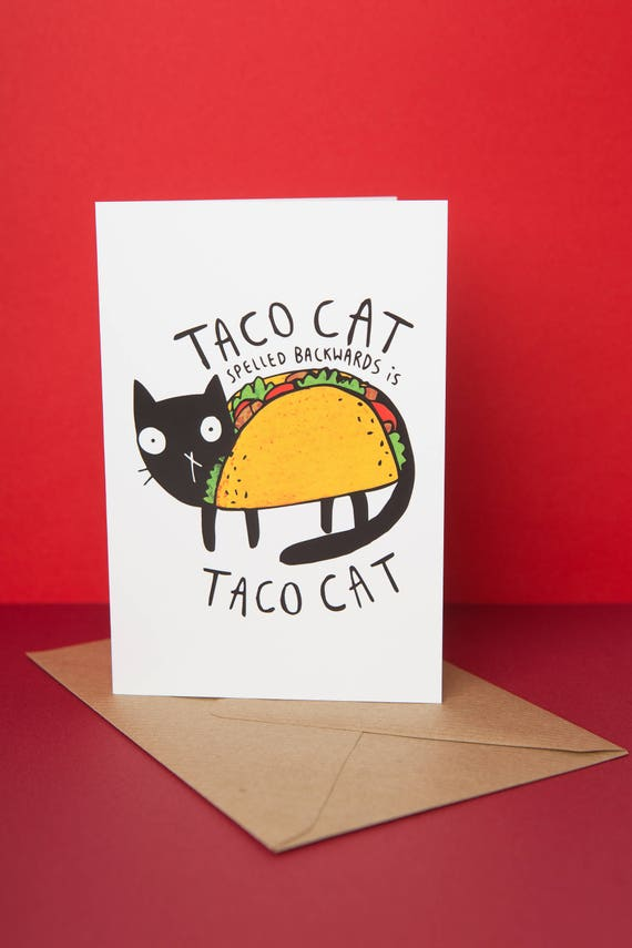 Taco Cat Greeting Card Birthday Card Mexican Food