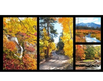 "Anniversary Sale Fallscapes -Digital Fall Scenes~ Panel 24"" x 44"" Cotton Fabric, Red Rooster Fast Shipping F659"
