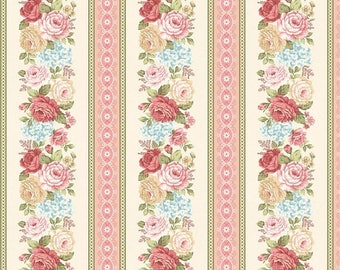 Anniversary Sale Peaceful Garden~Rose Border Stripe Cotton Fabric by Henry Glass Fast Shipping F882