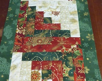 Summer Sale- Christmas Quilted Table  Runner Log Cabin Design Quilted Gift,Fast Shipping TBL111