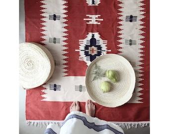 Vintage hand-woven rug boho kelim