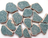 15 Pcs Green Beach Pottery | Genuine Sea Pottery | Authentic Beach Pottery | Green Ceramic Tile | Mosaic Tile | Surf Tumbled | Green Tile