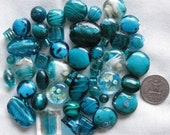 RESERVED FOR REBECCA - Teal Green Beads 48Pc Mix | Murano Style Glass | Lampwork Style Glass | Glass Beads | Beads for Jewelry Making