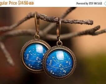 20% OFF Galaxy earrings, dangle earrings, glass earrings, antique brass earrings, constellation earrings, leverback earrings, space earrings