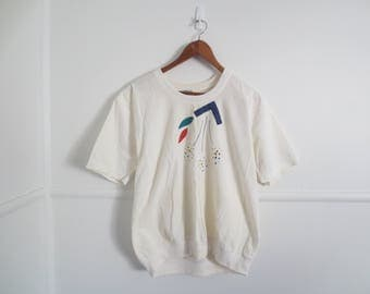 80s abstract print painted shirt