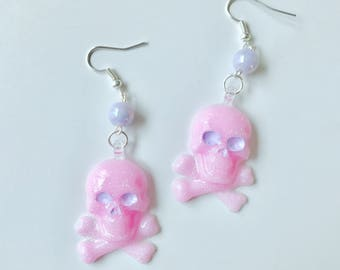 Pastel Pink Pirate Dangly Earrings