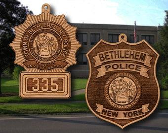 Wooden Bethlehem NY PD Badge or Shoulder Patch Ornament