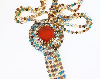 1960s Multi Colored Rhinestone Fringe Dangling Long Pendant Tassel Necklace