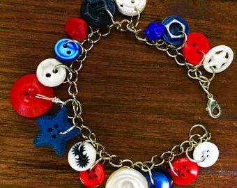 Americana Red, White and Blue Vintage Button Bracelet