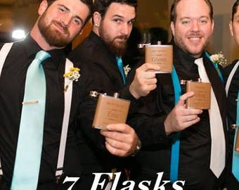 Personalized Leather Groomsman Flask, Laser Engraved Flask, Monogrammed Flask, Wedding Gift, 7 Leather Groomsman Flask Set, FREE ENGRAVING