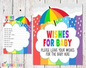 PRINTABLE Rainbow Wishes For Baby, Rainbow Baby Shower Game, Well Wishes For Baby Cards, Baby Shower Activity, Party Game, INSTANT DOWNLOAD