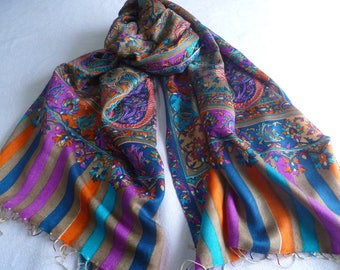 Scarf, embroidered, FREE SHIPPING, purple and orange, natural fiber,  paisley, Kani design, wool silk blend, table runner