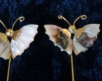 Set of Two Vintage Gold Tone Butterfly Hat Pins with Mother of Pearl Wings