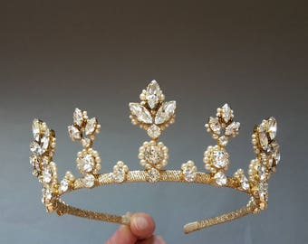 Wedding crown Pearl crown Bridal tiara Swarovski crystal tiara Crystal crown Bridal crown Bridal hair accessories Wedding crystal tiara