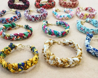 Colorful 3 strands braided bracelets, gold clasp and chains, free shipping