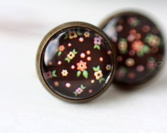 Earrings, 12 mm, flower, flower