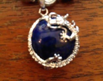 Lizard Wrapped Lapis Pendant Necklace Set