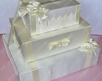 3 tier wedding card box Ivory wedding card box Wedding money holder Wedding money box Ivory card box for wedding Gift card holder