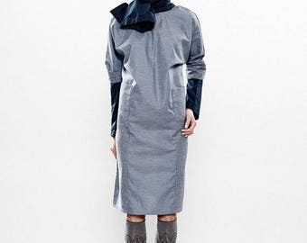 Dresses On Sale Spring Dress, Gray Dress, Cotton Dress, Special Occasion Dress, Long Sleeve Dress, Fitted Dress,Bodycon Dress,Pencil Dress,S