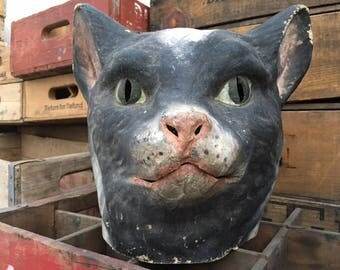 Paper Mache Cat Head   Carnival Mask Folk Art