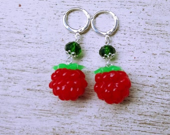 Raspberries Raspberry Earrings Earrings whis raspberry Summer earrings Red earrings red raspberry Berries berry earrings whis berries