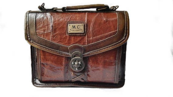 Vintage Marc Chantal Italy, brown leather handbag, shoulder bag, ca. 1990 for woman