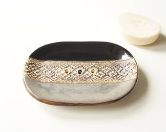 Large Soap Dish, Oval Soap Dish, Rustic Soap Dish, Black Gray Soap Dish, Ceramic Soap Dish, Ceramics and Pottery, Soap Holder, Soap Bowl