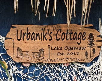 Outdoor Tiki Sign, Lake House Sign, Pine Trees, Beach Sign, Weekend Lake House, Cottage Sign, Adirondack Chairs Tiki Torch, Rot Resistant
