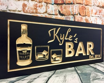 Bar signs, Man Cave, Black Wooden Signs, Personalized Name, Carved Plaques, shot glass, Wine, Scotch, Whisky, Beer,Vodka Double old Fashion