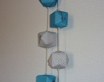 "Origami ""handmade"" blue Garland and dots"