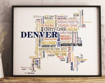 Denver Map Art, Denver Art Print, Denver Neighborhood Map, Denver Typography Art, Denver Poster Print, Denver Word Cloud