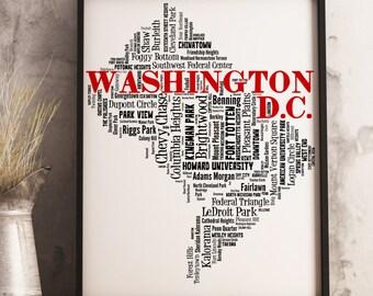 Washington DC Map Art, Washington DC Art Print, Washington DC Neighborhood Map, Washington dc Typography Art, Washington dc Wall Decor