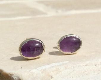 Amethyst Silver Earrings, Birthstone Studs, Bridesmaids Gifts, Gemstone Earrings, Natural Stone Studs, Amethyst Earrings, Purple Stone Studs