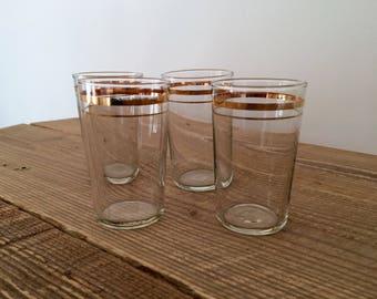 Set of 4 Vintage Gold Rim Glass Juice/Cocktail Glasses