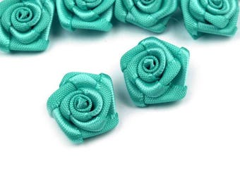 10 small pink flowers green turquoise satin 15 mm
