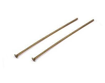 50 PCs pin pendant 40 x 8 mm antique bronze flat head