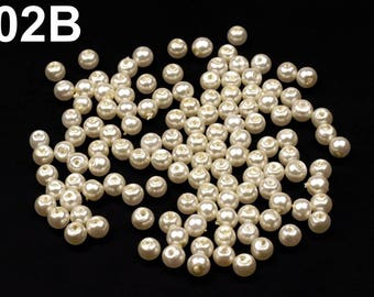02-B - 50 g of beads mother of Pearl 4 mm round glass