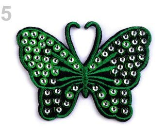 Applied fusible Butterfly sequins green 8cms