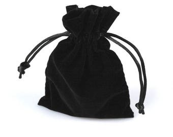 2 bag pouch purse 8 x 12 cm black velvet