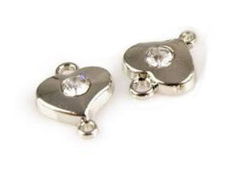 2 Crystal heart jewelry connectors