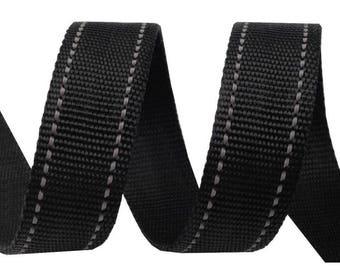 Black stitching strap gray 30 mm polypropylene