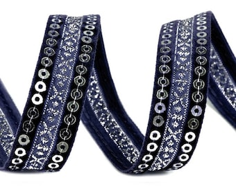 Navy blue satin embroidered with silver sequins 15 mm and velvet Ribbon