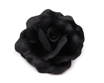 Black fabric flower brooch or hair