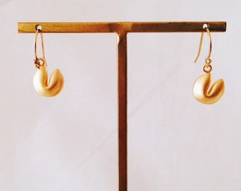 14 k gold filled earrings 3D cake fortune cookie matte gold